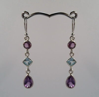 389 Amethyst/Blue Topaz 6 facet gems Solid 925 Sterling Silver earring rrp$59.95