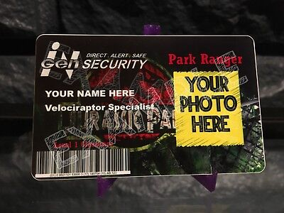 custom Jurassic Park Cosplay ID Badge world movie prop ingen dinosuars