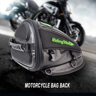 Motorcycle Tail Bags PU Leather Rear Seat Back Saddle Helmet Shoulder Carry Bag
