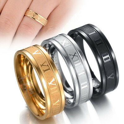 Roman Numeral Punk Band Men Women Wedding Jewelry Fashion Ring Stainless Steel