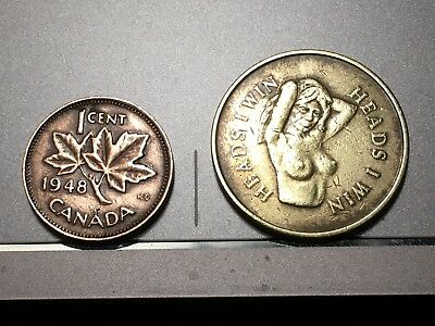 """Vintage novelty coin, """"Heads I win, Tails You Lose""""  1""""  + 1 cent Can 1948 coin"""