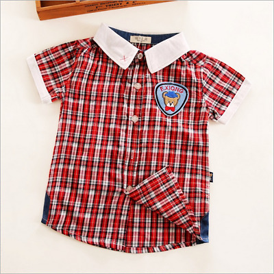 Boys shirt 2018 new cotton plaid shirt male baby woven children's clothing