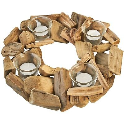 *-Shabby Chic Round Driftwood Four Glass Tea candle Light Holder Xmas Gift NEW**