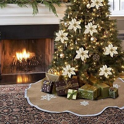 PartyTalk Burlap Christmas Tree Skirt 48 Inch Xmas Tree Base Cover White Snowfla