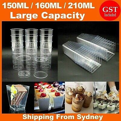 40/50 PCS Mousse Cake Dessert Cups Clear Plastic Sample Drink Wine Jelly Tumbler