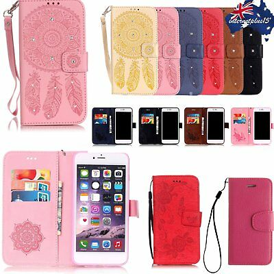 Bling Campanula Wallet PU Leather Flip Case Cover Stand Card Hoder For iPhone PP