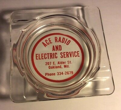 Vintage Ashtray - Ace Radio and Electric Service - Oakland Md.