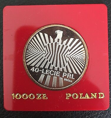 1984 Poland Silver Proof Coin 1000 Zlotych Uncirculated Proba Test 40 Year PRL
