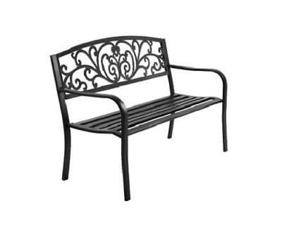 Floral 3 Seater Cast Iron Outdoor Decor Garden Patio Deck Park Bench Chair Seat