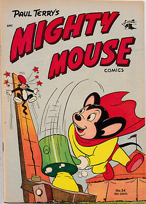 MIGHTY MOUSE COMICS #54 1954 FINE-VF cond MIGHTY MOUSE vs OIL CAN HARRY!!!