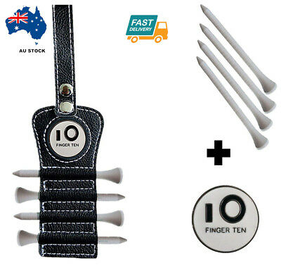 Golf Tee Holder PU Leather with 2 Ball Marker and 4 pcs Wood Tees Set Keychain