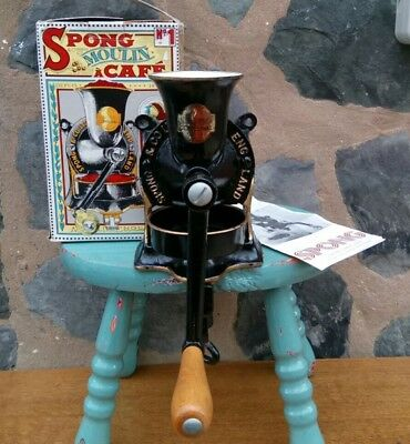 vintage cast iron spong 1 Moulin a café coffee grinder Mill boxed tray