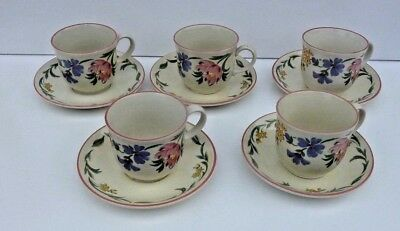 Staffordshire Tableware * Chelsea * Cups And Saucers X 5