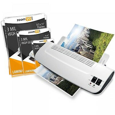 Hot Cold Thermal Laminator Machine 3-Pack Laminating Pouches Portable Warms Up