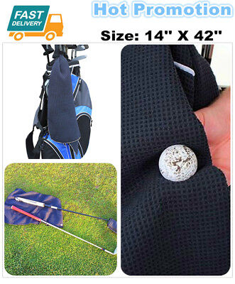 107X35cm Golf Towel Clip Waffle Microfiber Hook to Bag Black Blue White Pink AU