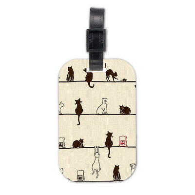 Lazy Cat Kitten Wood Travel Bag Luggage Tag Accessory