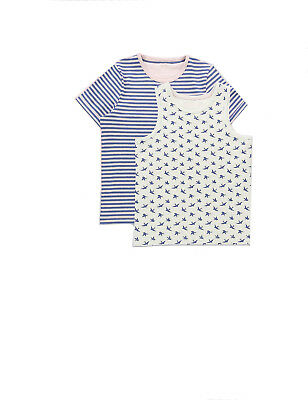 Ex Marks and Spencer Pack Cotton Assorted Pyjama Tops Age 5 - 10 (P97.7)