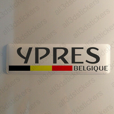 """Ypres Belgium Sticker 4.70x1.18"""" Domed Resin 3D Flag Stickers Decal Vinyl"""
