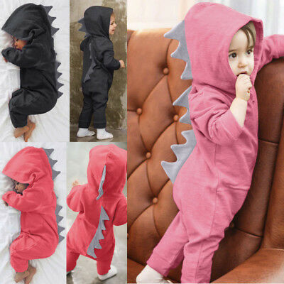 Newborn Infant Baby Boys Girls Dinosaur Hooded Romper Jumpsuit Clothes Outfit AD