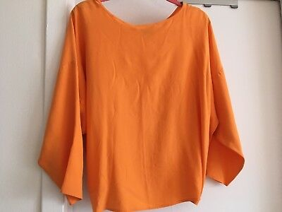 af52a714fb5 Eileen Fisher Rare Piece: Orange Silk Cropped Top,BatWing Charmeuse Inside,  L/