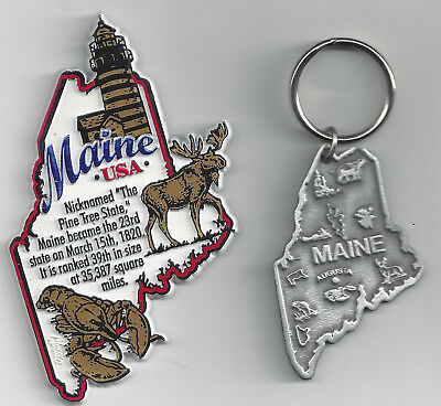 MAINE MAP INFO MAGNET and PEWTER   SOUVENIR KEYCHAIN  AUGUSTA  NEW USA