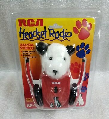 Rare Thomson Rca Am/Fm Stereo Headset Radio Rp-1601K9 W/Rca Nipper Plush Dog~New