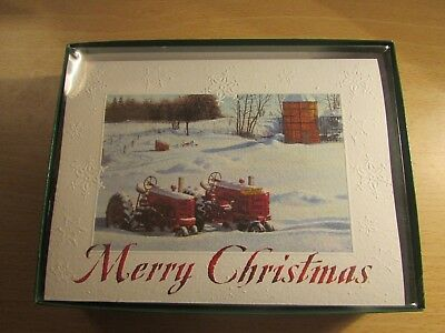 Leanin Tree Christmas Cards Boxed 12 Embossed w/ envelopes Tractors in Snow  USA - LEANIN TREE CHRISTMAS Cards Boxed 12 Embossed W/ Envelopes Tractors
