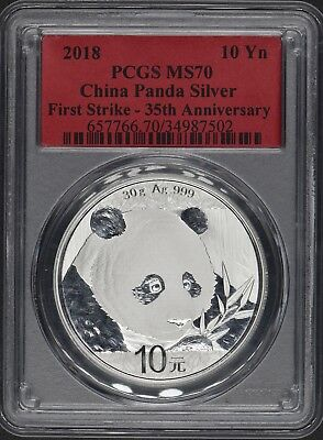 2018 10 Yuan China Silver Panda Coin .999 Silver PCGS MS70 First Strike
