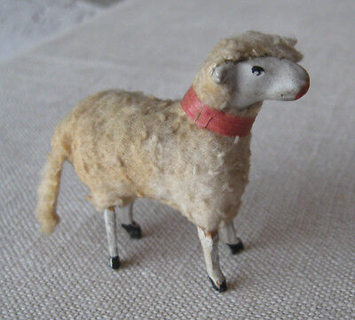 Vintage Antique Christmas Putz Wool Sheep/Lamb with Wood Stick Legs - 2 inches
