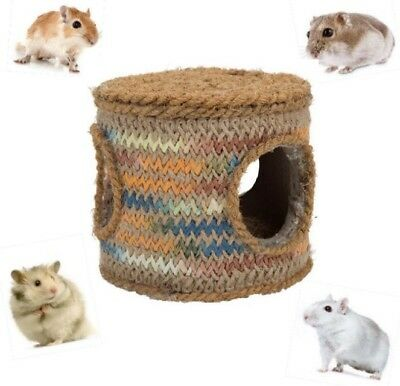 Coconut Rope Small Pet Barrel Hide out Home Retreat Dwarf Hamster Gerbil Nest