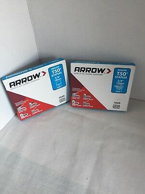 2 Arrow T50 Genuine Staples 3/8 - Inch 1250 Pack #506 Brand New 2500 Total Usa