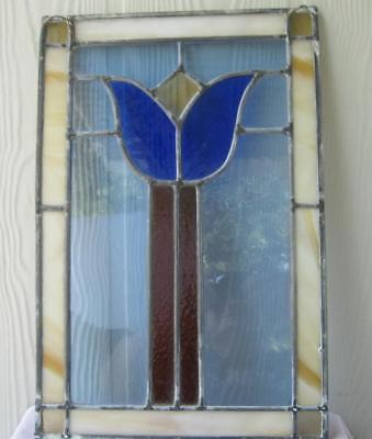 Antique Stained Glass Window Panel Tulip in Red Blue and White Mid Century