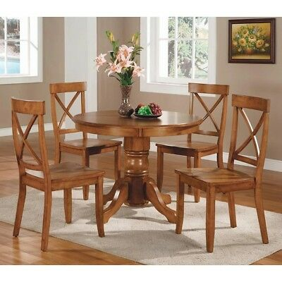 Dining Table Set for 4 Kitchen Nook Room Farmhouse Traditional Cottage Oak Round