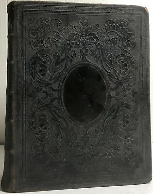 1867 Domestic Holy Bible Old New Testament Illustrated Fine Binding Cobbin Rare