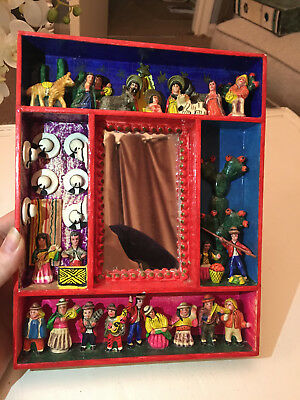 Peruvian Folk Art handmade mirror nativity scene brightly coloured retablo