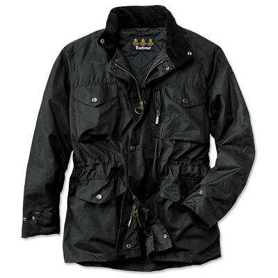 BARBOUR Military Field 'Sapper' Sylkoil Waxed Cotton Quilted Jacket Black sz XXL