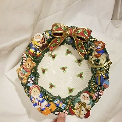 """Fitz And Floyd Holiday Christmas Bowl Wreath Bow Bears Presents Candy 11"""""""