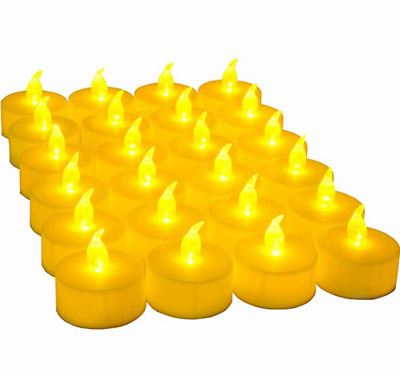 24 Pcs LED Tea Lights Candles Battery Powered Warm Amber Ideal for Wedding Party