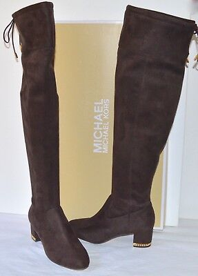 8c261147213 New  229 Michael Kors Jamie Mid Boots Stretch Suede Tall Coffee Brown Over  Knee