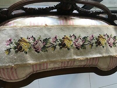 """Vintage COMPLETED Needlepoint Canvas Ivory W/Floral Bouquet 8"""" x 33"""" BEAUTIFUL"""
