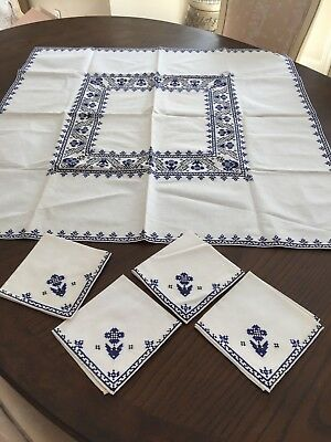"Vintage Luncheon Set Of 33""sq Tablecloth W/4-11"" Napkins Cross Stitch"