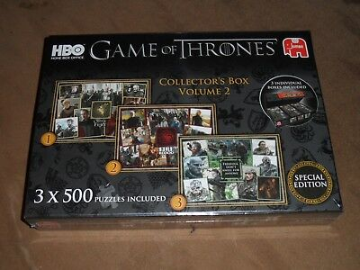 GAME OF THRONES COLLECTOR'S BOX VOLUME 2 INCLUDES 3 X 500 PIECE JIGSAWS New