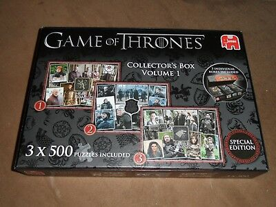 Game Of Thrones Collector's Box Volume 1 Includes 3 X 500 Piece Jigsaws
