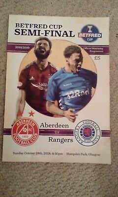 Aberdeen V Rangers  Betfred Cup Semi Final unopened programme and teamsheet 2018
