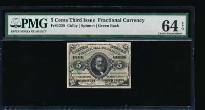 AC Fr 1238 $0.05 fractional Third Issue PMG 64 EPQ as made ink green back