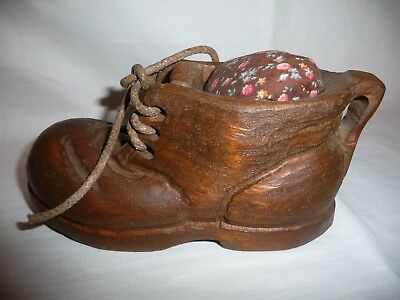 Decorative Hand Made Vintage Hand Carved Wooden Shoe Boot Pin Cushion~Primitive