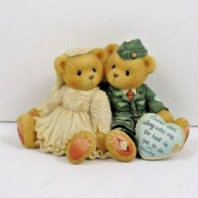 """Cherished Teddies """"Forever Yours Forever True"""" Army Bear and Bride 1997 Enesco"""