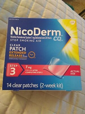NICODERM CQ 14 Count CLEAR PATCHES 7mg 2 Week Kit Step 3~11/18