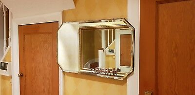 Vintage Art Deco Bevelled Edge Frameless Hanging Wall Octagonal Shape Mirror.