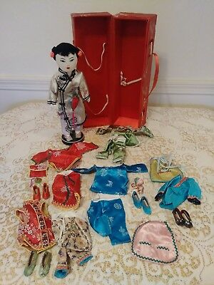 Vntg Chinese CHIEH CHIEH Elder Sister Cloth Doll in Box w/Several Outfits &Shoes